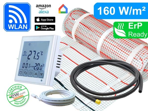 Thermostat RT-6 Wlan mit elektrischer Heizmatte SunPro für Fliesen 160 W/m²