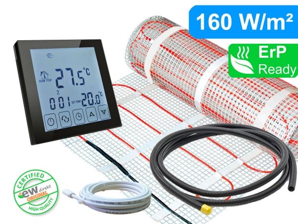 Thermostat RT-45 schwarz mit elektrischer Heizmatte SunPro für Fliesen 160 W/m²