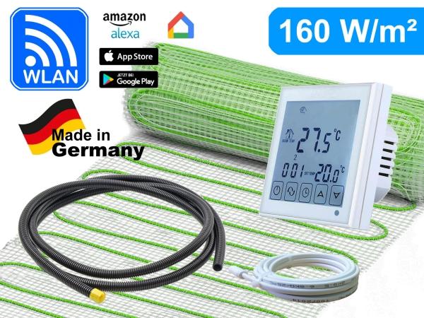 Thermostat RT-60 Wlan mit elektrischer Heizmatte UltraPro für Fliesen 160 W/m²