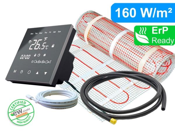 Thermostat RT-50 mit elektrischer Heizmatte SunPro für Fliesen 160 W/m²