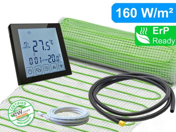 Thermostat RT-45 schwarz mit elektrischer Heizmatte UltraPro für Fliesen 160 W/m²